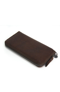 Interfool - Washing leather wallet<br>dark brown color