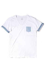 makenoise) Fake pocket V neck WHITE