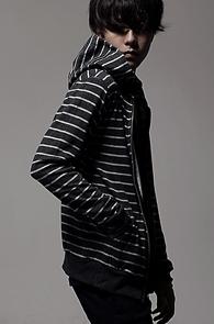 resonance) Stripe hood zip-up DG