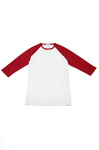 makenoise) m.n 3/4 raglan tee red