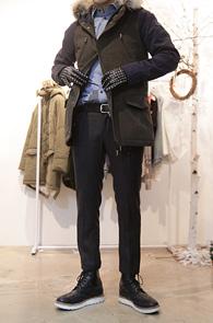 Khaki Coloration Long Jacket<br>배색 디자인, 양털 내피<br>뛰어난 보온성