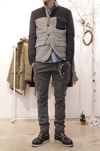 Grey Wool Padding Jacket<br>그레이, 네이비 배색디자인<br>울소재 사용, 패딩 블레이저 자켓
