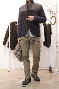 Navy Wool Padding Jacket<br>네이비, 그레이 배색디자인<br>울소재 사용, 패딩 블레이저 자켓