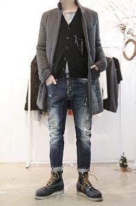 Grey Quilting Down Coat<br>퀄팅 디자인, 롱 코트 디자인<br>코트 디자인의 패딩 자켓