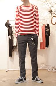 [50% SALE] Basic Round Stripe T-shirts Red<br>스트라이프 디자인, 라운드넥<br>활용도가 높은 스트라이프 티