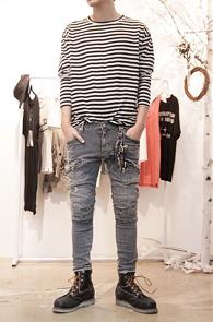 Loose Fit Stripe T-Shirts Black<br>루즈한 핏의 스트라이프 티셔츠<br>블랙, 그레이 컬러로 진행