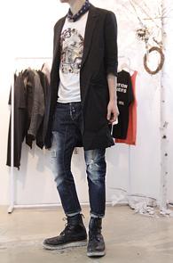 Black Crop Linen Long Jacket<br>린넨소재, 7부 기장<br>얇은 린넨소재의 여름용 자켓