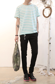 Simple Stripe T-Shirts Mint<br>코튼소재, 스트라이프 디자인<br>여름철 활용도가 높은 단가라티