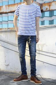 Simple Stripe T-Shirts Blue<br>코튼소재, 스트라이프 디자인<br>여름철 활용도가 높은 단가라티