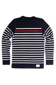 resonance) Red Point Stripe cotton knit