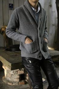 Grey Knit Shwal Collar Cardigan<br>니트원단,그레이 컬러<br>고퀄리티의 숄카라 가디건