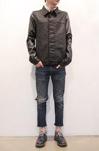 Black Cotton Leather Mix Jacket<br>코튼과 페이크레더소재<br>다크쉐도우를 모티브로 제작된 제품