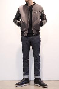 Khaki Leather Mix MA-1 Jacket<br>카키컬러,레더믹스 소재<br>깔끔한핏과 디자인이 멋스러운 MA-1 자켓