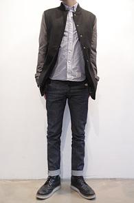 Black Wool Stadium Mix Coat<br>블랙컬러, 배색디자인<br>스타디움과 코트를 믹스한 자켓