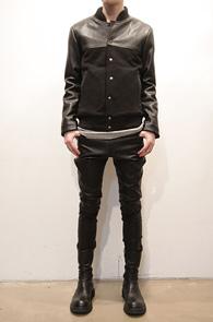 Wool Leather Mix Black Stadium Jacket<br>울소재, 레더믹스디자인<br>겨울철 착용 가능한 울 스타디움 자켓