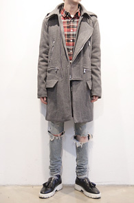 Grey Wool Rider Hood Coat<br>그레이컬러, 울소재<br>고퀄리티의 라이더타입 후드코트