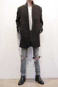 Black Leather Point Single Coat<br>블랙컬러, 모직소재<br>레더포인트가 돋보이는 깔끔한 싱글코트