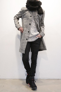 (Used) Grey Check Printing Trench Coat