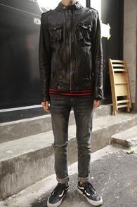 Black Single Sheep Skin Jacket<Br>블랙컬러의 쉽스킨 소재<br>싱글타입의 레더 자켓