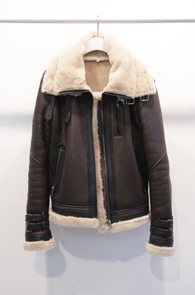 (used)Brown Real Leather Mouton Jacket<br>램스킨 소재 천연 양모 안감