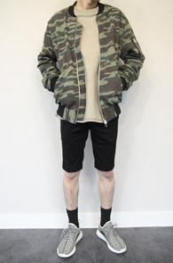 Khaki Camo Double Zipper Jacket<br>다이마루 코튼 원단<br>카모패턴의 MA-1 자켓