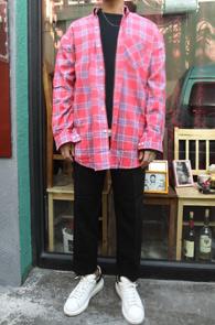 Overfit Check Long Shirts<br>오버핏 체크 롱셔츠<br>코튼 소재,톤다운된 컬러감