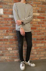 Long Sleeve Stripe T-shirts<br>기본 10수 단가라 티셔츠<br>베이직한 실루엣,기본 4계절 아이템