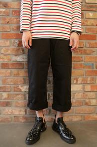 Black Banding Crop Pants<br>블랙 밴딩 9부 크롭 팬츠<br>허리 밴딩,와이드핏 실루엣