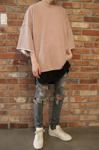 2 Color Pigment Half T-Shirts<br>피그먼트 원단,데끼컷팅 처리<br>박시한 핏감의 피그먼트 티셔츠