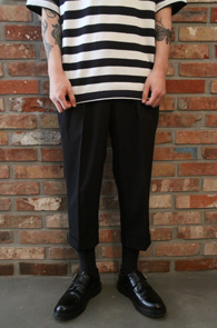 Black Banding Slacks Pants<br>7부 블랙 밴딩 슬랙스<br>밑단 턴업,편안한 착용감