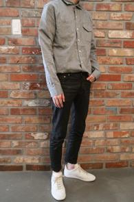 Grey Linen Basic Shirts<br>그레이 컬러 린넨 셔츠<br>베이직한 실루엣 시원한 착용감