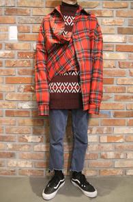 Red Wool Heavy Box Fit Shirs<br>두꺼운 울소재, 박시한 핏감<BR>체크패턴의 헤비 울 셔츠