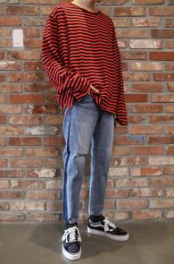2 Color Stripe Vintage T-Shirts<Br>화이트, 레드 두가지 컬러<br>언발란스 디테일의 빈티지 스트라이프티