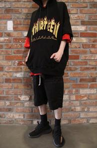 Half Vintager Hood T-Shirts<br>빈티지 디테일, 플레임 프린팅<br>스트릿한 느낌의 후드티
