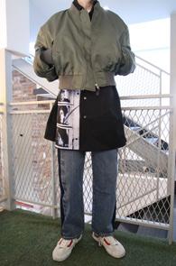 Khaki Shoulder MA-1 Jacket<Br>카키컬러의 파워 숄더 디자인<br>유니크한 스타일의 MA-1 자켓