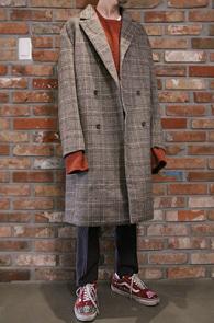 2 Color Wool Glen Check Coat<Br>검정,베이지 두가지 컬러<br>글렌체크패턴의 울 코트